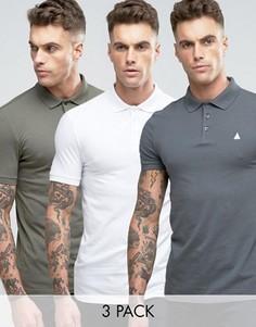 Набор из 3 футболок-поло белого, серого и зеленого цвета ASOS, СКИДКА - Мульти