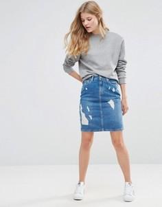 Джинсовая юбка-карандаш с прорехами Pepe Jeans - Синий
