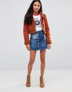 Джинсовая мини-юбка в стиле пэчворк Pepe Jeans Jagger - Синий