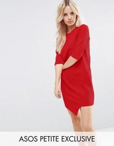 Асимметричное цельнокройное платье в крупный рубчик ASOS - Красный