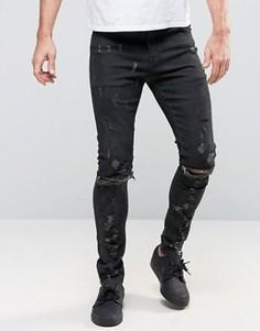 Черные супероблегающие джинсы с рваными коленями и молниями ASOS - Черный