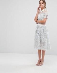 Кружевная юбка-премиум Chi Chi London - Серый