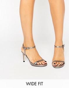 Серебристые босоножки на каблуке для широкой стопы Faith - Серебряный