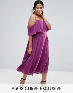 Платье миди с открытыми плечами ASOS CURVE - Фиолетовый