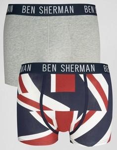 Набор из 2 боксеров-брифов с принтом британского флага Ben Sherman - Темно-синий