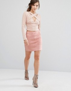Мини-юбка из искусственной замши Parallel Lines - Розовый