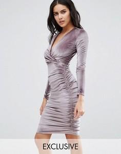 Бархатное платье миди Club L - Розовый