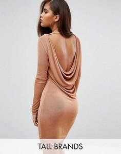 Облегающее платье с драпировкой на спине Missguided Tall - Коричневый