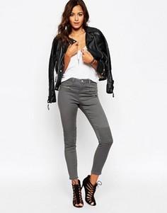 Облегающие брюки с байкерской отделкой ASOS - Серый