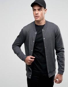 Темно-серая трикотажная куртка‑пилот на кнопках ASOS - Серый