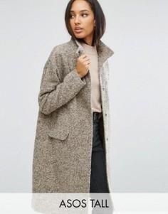 Oversize-пальто с добавлением шерсти и воротом-трубой ASOS TALL - Розовый