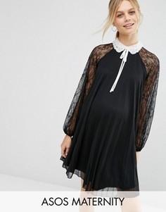 Платье-трапеция мини для беременных с отделкой ASOS Maternity - Черный