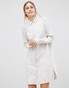 Льняное платье-рубашка Just Female Sketch - Кремовый