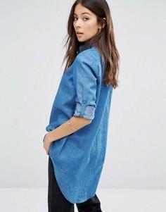 Джинсовая рубашка с удлиненным краем Unique 21 - Синий