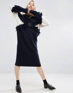 Трикотажное платье миди с бахромой ASOS WHITE - Темно-синий