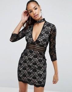 Кружевное платье мини с отделкой чокер ASOS - Черный
