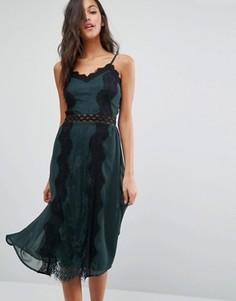 Платье на бретельках с кружевными вставками Miss Selfridge - Зеленый