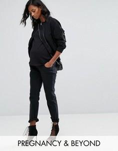 Джинсы бойфренда для беременных со съемной вставкой Bandia Maternity - Черный
