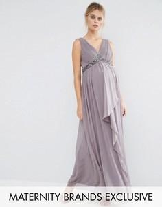 Платье макси для беременных с декорированной талией и перекрестной спинкой Little Mistress Maternity - Серый