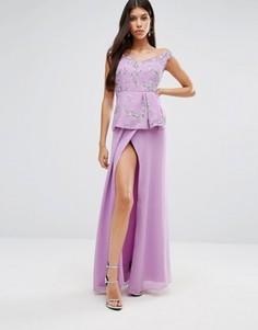 Платье макси с баской Virgos Lounge Michaela - Фиолетовый