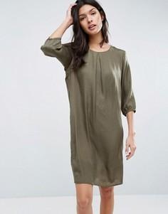 Цельнокройное платье с рукавами 3/4 b.Young - Зеленый