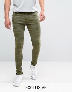 Супероблегающие джинсы зеленой камуфляжной расцветки Brooklyn Supply Co - Зеленый