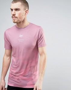 Футболка с камуфляжным принтом и выцветшим эффектом Hype - Розовый