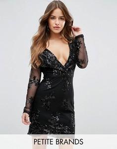 Облегающее платье с V-образным вырезом и пайетками Boohoo Petite - Черный