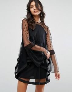 Платье с рюшами Stevie May Daydream - Черный