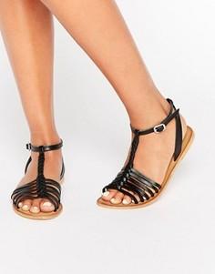 Кожаные плетеные сандалии ASOS FARLORN - Черный