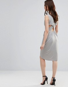 Платье с драпировкой и перекрестными планками сзади Wal G - Серый