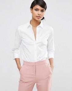 Хлопковая эластичная рубашка с рукавами 3/4 ASOS - Белый