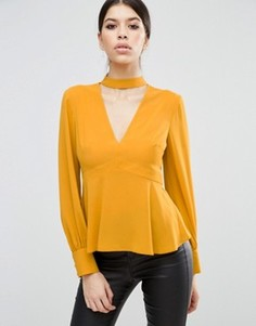 Блузка с V-образным вырезом и лентой вокруг шеи ASOS - Желтый