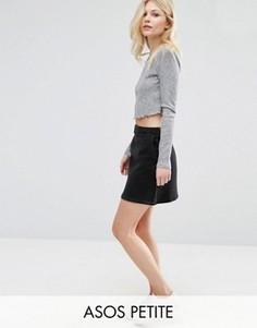 Черная джинсовая юбка-трапеция ASOS PETITE - Черный
