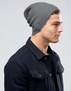 Серая шапка-бини свободного кроя ASOS - Серый