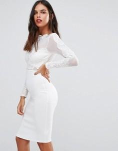 Сетчатое платье с длинными рукавами и отделкой кроше AX Paris - Кремовый