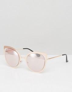 Солнцезащитные очки кошачий глаз в золотисто-розовой оправе ASOS - Золотой