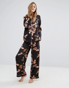 Пижамные брюки с цветочным принтом Y.A.S - Черный