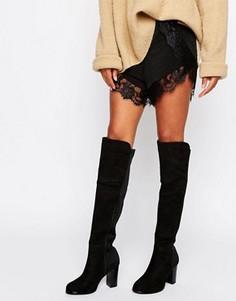 Высокие сапоги на каблуке с эластичной вставкой Truffle - Черный