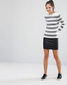 Полиуретановая мини-юбка Only - Черный