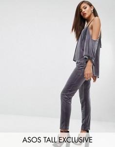 Бархатные брюки-сигаретки ASOS TALL RED CARPET - Серый