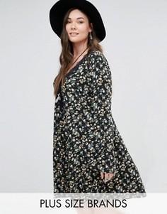 Короткое приталенное платье с расклешенными рукавами Alice & You - Черный