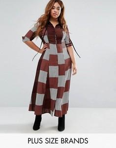 Чайное платье макси в клетку с воротником Alice & You - Красный