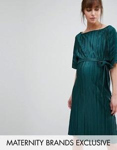 Плиссированное цельнокройное платье Queen Bee - Зеленый