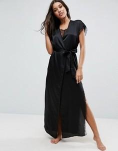 Длинный атласный халат с запахом и кружевом ASOS - Черный