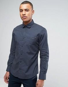 Рубашка узкого кроя с длинными рукавами и принтом Esprit - Темно-синий