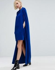 Платье мини с длинным кейпом ASOS WHITE - Темно-синий