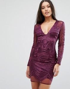 Платье-футляр с глубоким вырезом и вышивкой Lavish Alice - Фиолетовый
