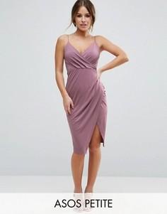Платье миди с запахом на юбке ASOS PETITE - Фиолетовый