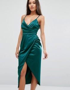 Атласное платье миди на бретельках Lavish Alice - Зеленый